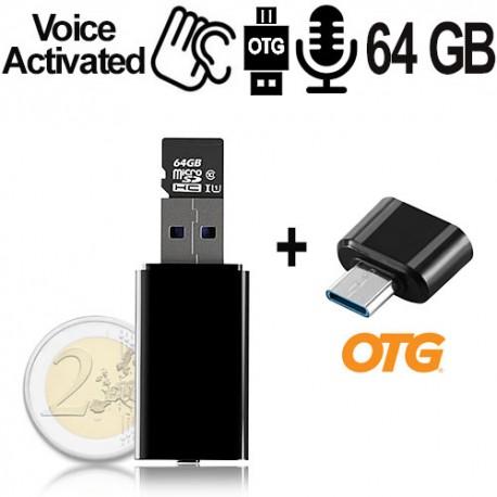 Micro USB-Voice-Recorder, 64GB bis 752 Std., Voice-Activated, OTG Unterstützung